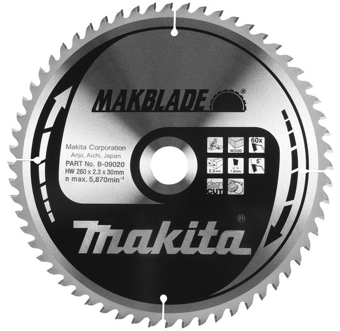 B-09020 - Makita Pilový kotouč MAKBLADE 260x2,3x30mm 60 zubů, dřevo (B-03838, B-03486, JM23100005)