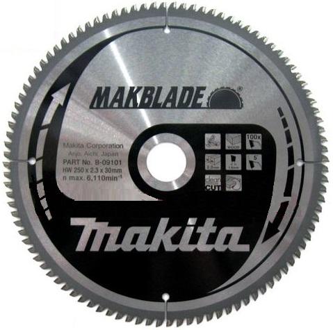B-09101 - Makita Pilový kotouč MAKBLADE 250 x 2,3 x 30 mm, 100 zubů, dřevo